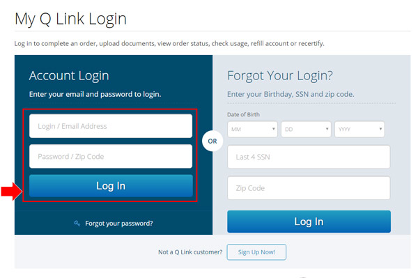 How to login in my Q Link