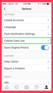 save data with instagram settings
